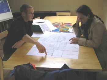 Looking over plans with Danny Harris at CAT